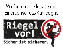 Wir fördern die Inhalte der Einbruchschutz-Kampagne: Riegel vor! Sicher ist sicherer.©Kreispolizeibehörde Oberbergischer Kreis